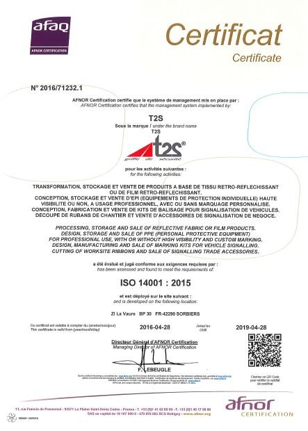 CERTIFICAT T2S - ISO 14001