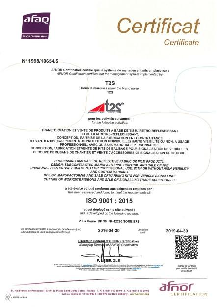 CERTIFICAT T2S - ISO 9001